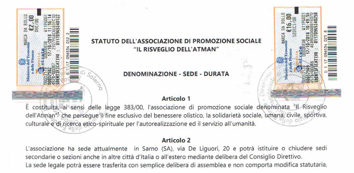 Associazione Statuto Dell Associazione Il Risveglio Dell Atman Il Risveglio Dell Atman Associazione Di Promozione Sociale A Sarno Sa E Provincia Di Salerno E Napoli